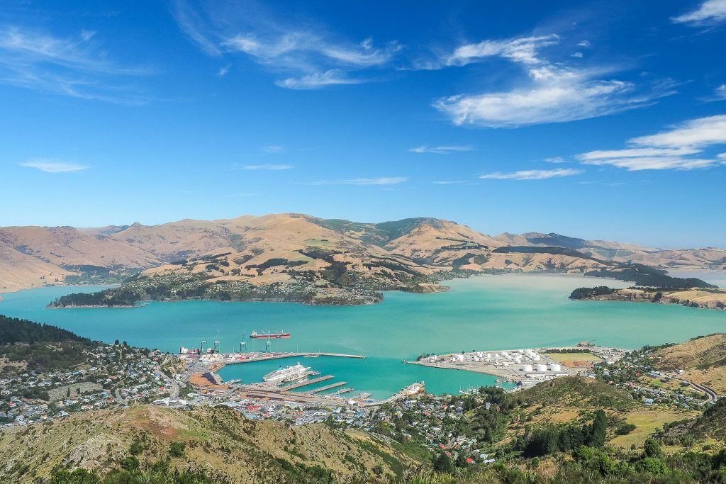moving to new zealand will allow you to see this aerial view of Lyttelton Port