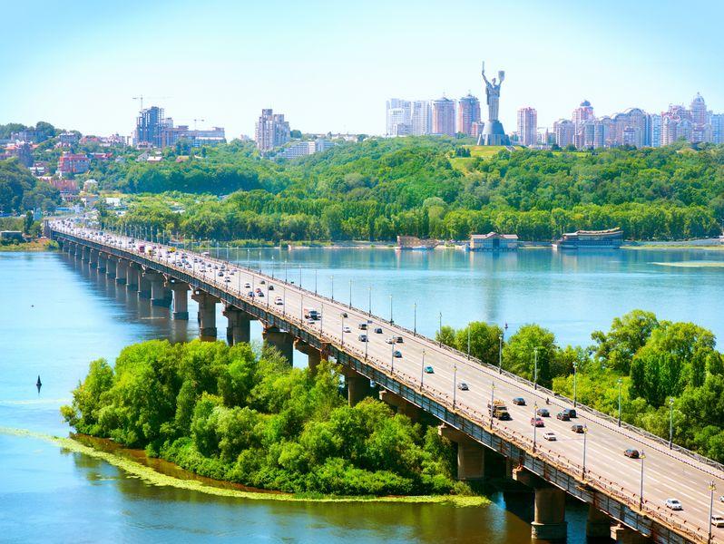 moving to ukraine to see beautiful bridge and water near kiev